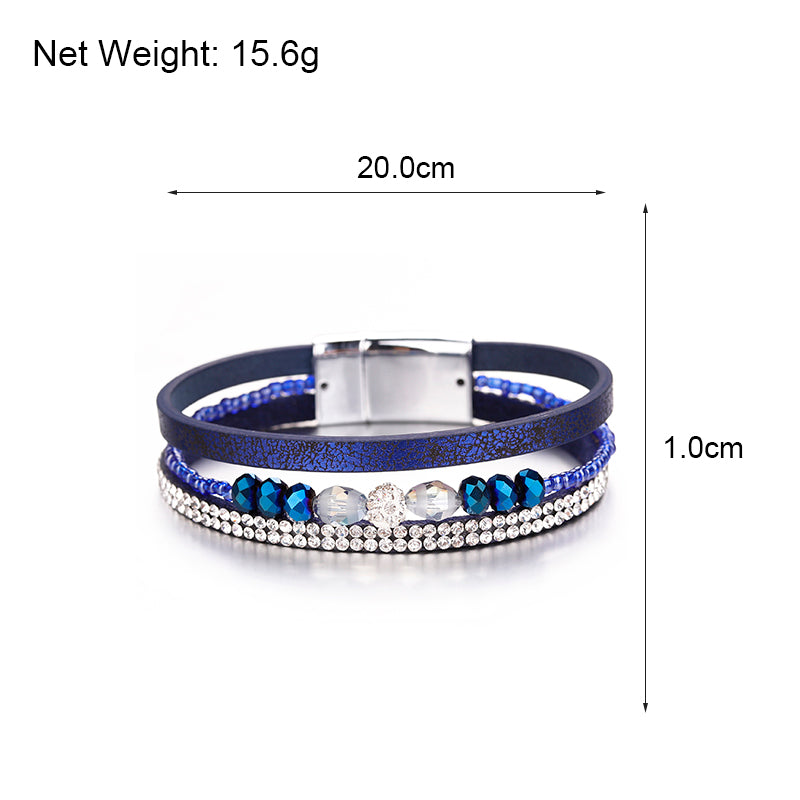 Multilayer Leather Bracelet – Multicolor Leather Bracelet – Women Femme Jewelry – Crystal Beads Wristband – Leather Jewelry