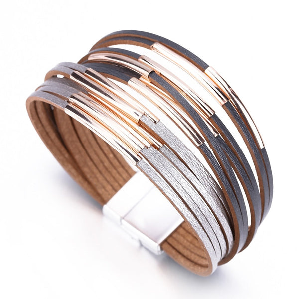 Slim Strips Leather Bracelet – Wide Wrap Multilayer Bracelet – Boho Multilayer Bracelet – Gold Plated Wrap Bracelet – Black Gray Bracelet