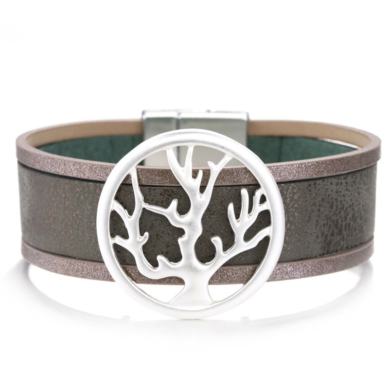 Tree Branch Round Leather Bracelet – Boho Tree Layered Bracelet – Wrap Multilayer Bracelet – Wide Leather Bracelet – Leather Jewelry