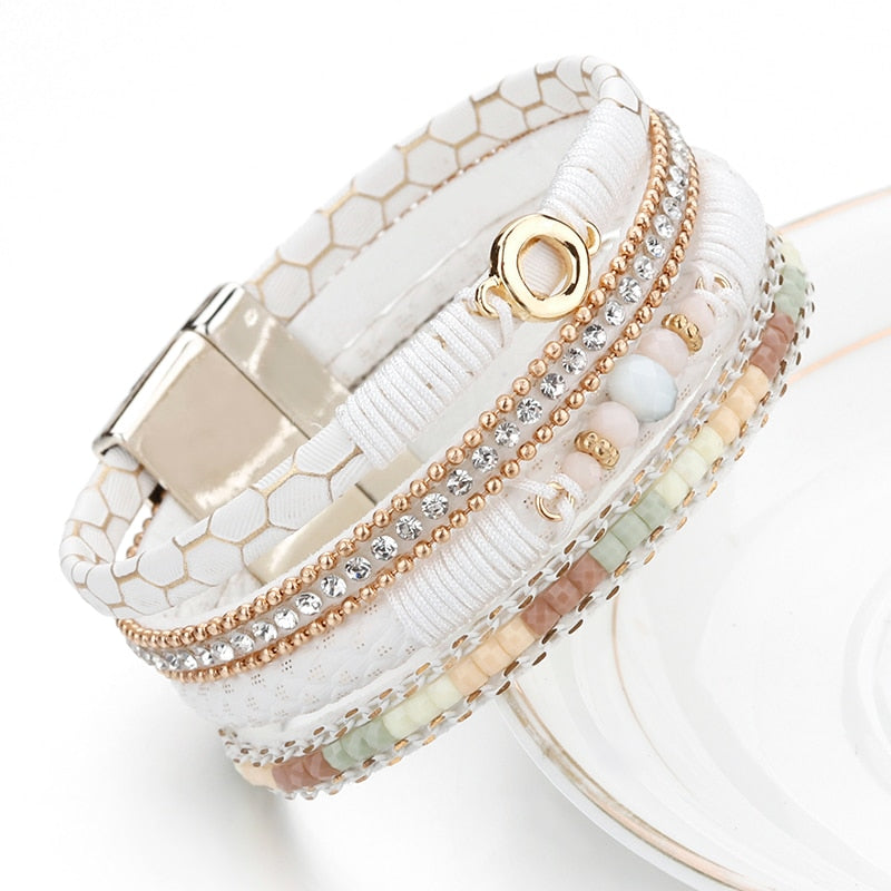 ALLYES White Leather Bracelets for Women Jewelry Trendy Round Metal Charm Rhinestone Crystal Wide Multilayer Bracelet Female