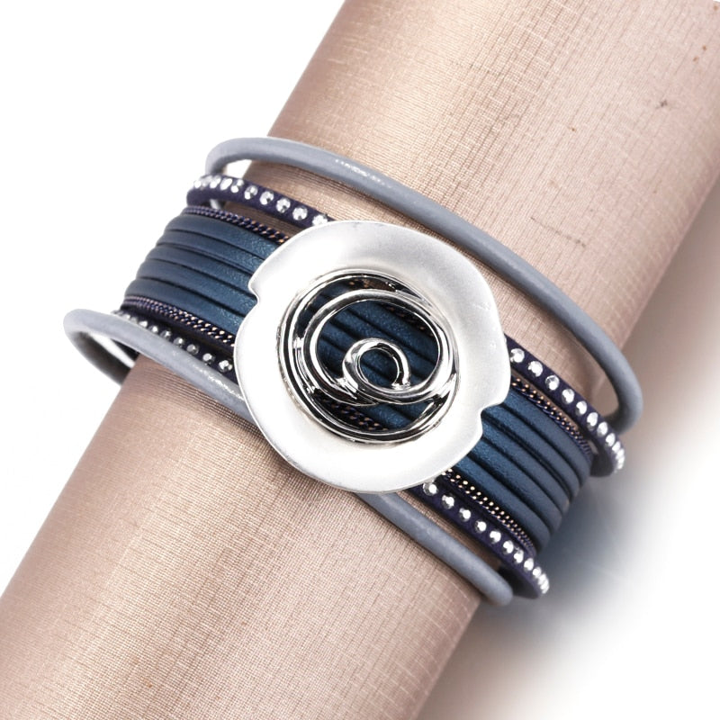 ALLYES Leather Bracelets For Women 2019 Ladies Boho Round Metal Charm Crystal Wrap Multilayer Wide Bracelet Female Femme Jewelry
