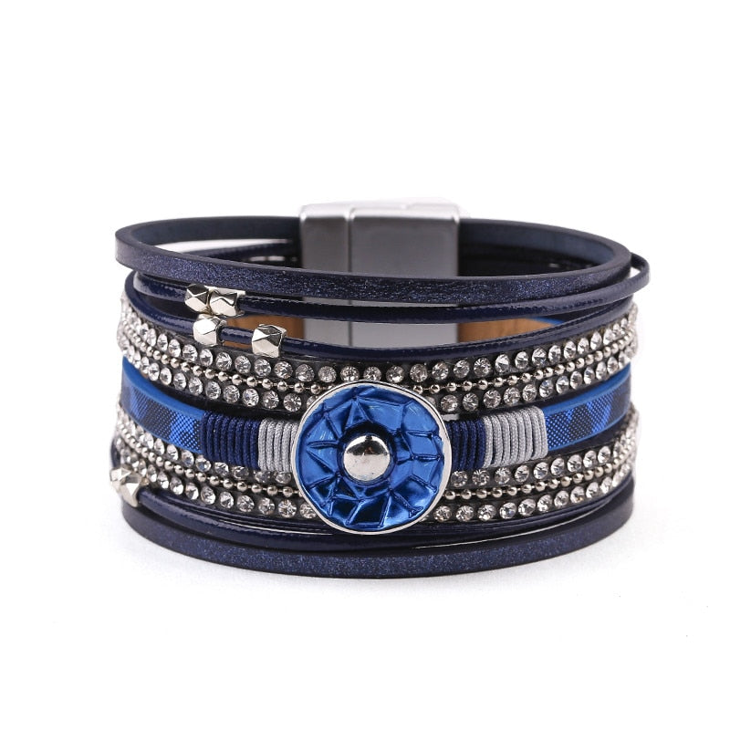 Blue Enamel Leather Bracelet – Multilayer Warp Bracelet – Rhinestone Beads Bracelet – Magnetic Clasp Bracelet – PU Leather Bracelet