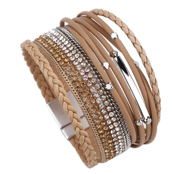 Braided Leather Bracelet – Multilayer Leather Bracelet – Rhinestone Beads Bracelet – Magnetic Clasp Bracelet – Link Chain Bracelet