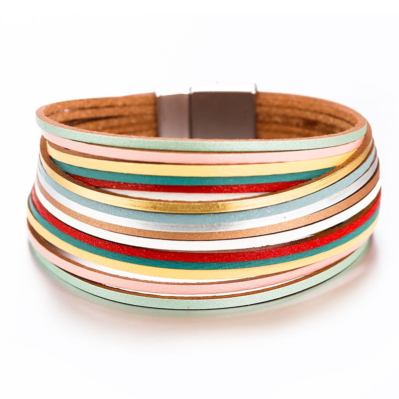 Leather Bangle Bracelet – Multicolor Leather Bracelet – Multilayer Bracelet – Wide Wrap Bracelet – Leather Jewelry – Women Fashion Jewelry