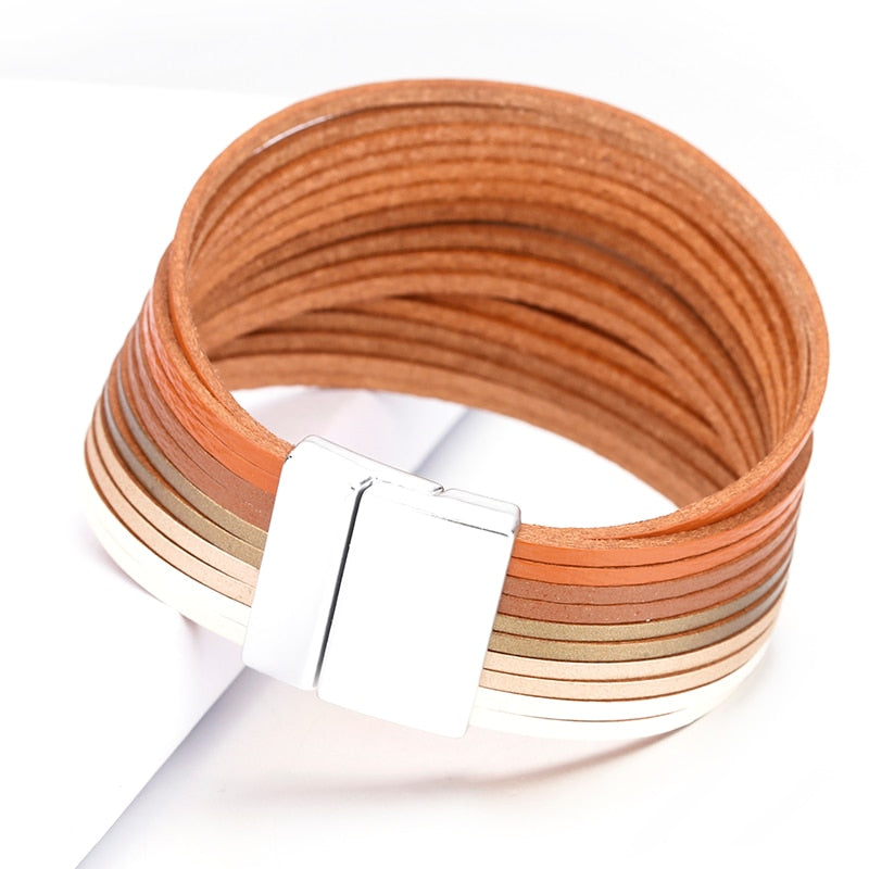 Strips Multilayer Leather Bracelet – Gradient Color Leather Bracelets – Multilayer Color Leather Bracelets – Boho Multilayer Bracelet
