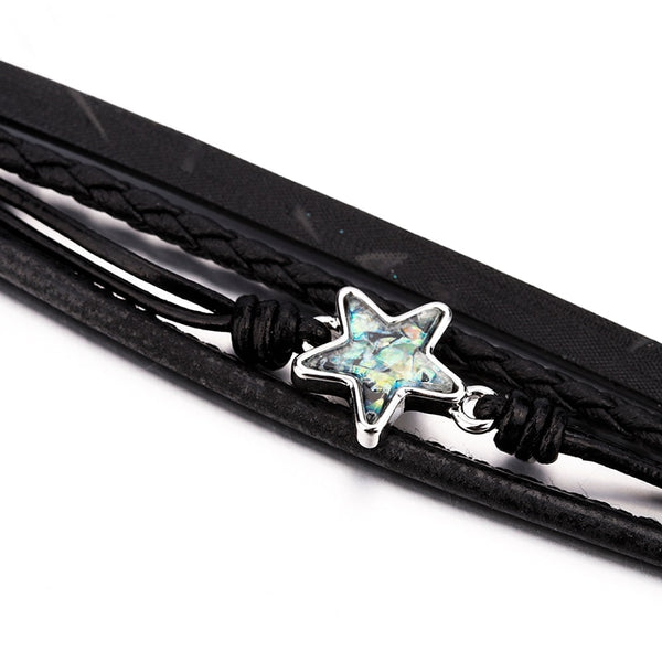 Black Braided Leather Bracelet – Turquoise Star Bracelet – Bohemian Leather Bracelet – Wrap Multilayer Bracelet – Twisted Leather Bracelet