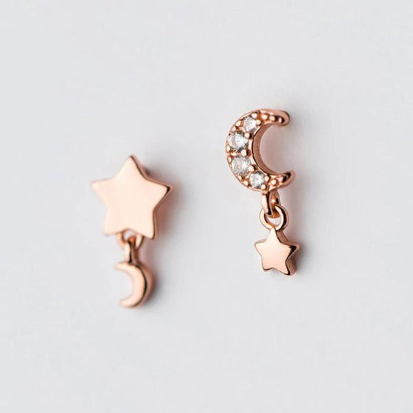 Asymmetrical Crescent Moon Star Earrings - Rose Gold Moon Star Earrings - Rose Gold Plated Dangle Star - 925 Sterling Silver Earrings Lux & Rose Default Title