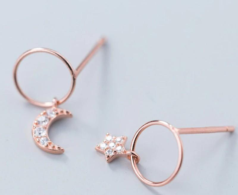 Asymmetrical Earrings - Sterling Silver Crescent Moon Stud Earrings - Rose Gold Plated Tiny Star Ear Studs - Tiny Moon & Star Hoop Earrings - Tiny Rose Gold Plated Sterling Silver Hoop Earrings Lux & Rose