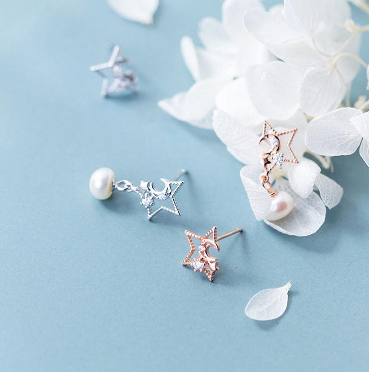 Asymmetrical Earrings - Sterling Silver Moon Earrings - Real Silver Star Dangle - Baroque Pearls Earrings - Galaxy Earrings Lux & Rose