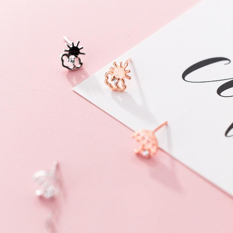 Asymmetrical Stud Earrings - Rain & Sunshine Earrings - Sterling Silver Umbrella Earrings - Real Silver Cloud Studs - Cute Silver Studs - Tiny Silver Earrings - Rose Gold Plated Stud Earrings Lux & Rose