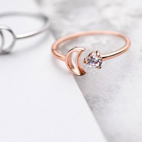 BESTSELLER - Crescent Moon Ring - Galaxy Ring - Rose gold plated Ring - Dainty Sterling Silver Ring - Crystal Moon Ring Lux & Rose