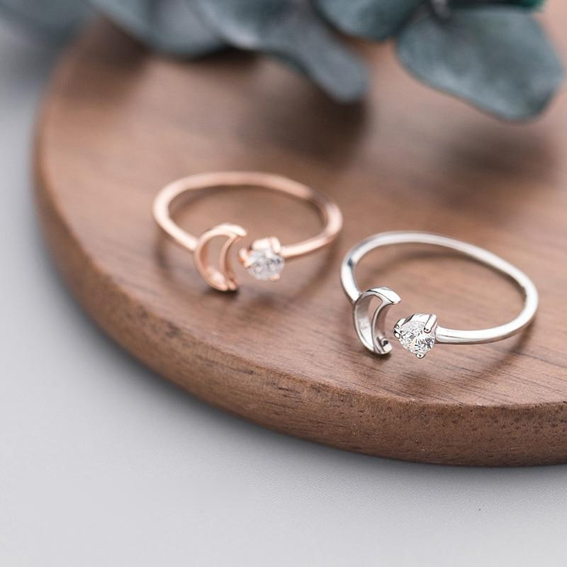 BESTSELLER - Crescent Moon Ring - Galaxy Ring - Rose gold plated Ring -  Dainty Sterling Silver Ring - Crystal Moon Ring