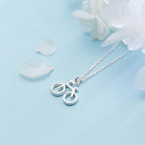 BESTSELLER - Sterling Silver Bicycle Pendant Necklace - 925 Real Silver Necklace - Classic Silver Necklace Lux & Rose