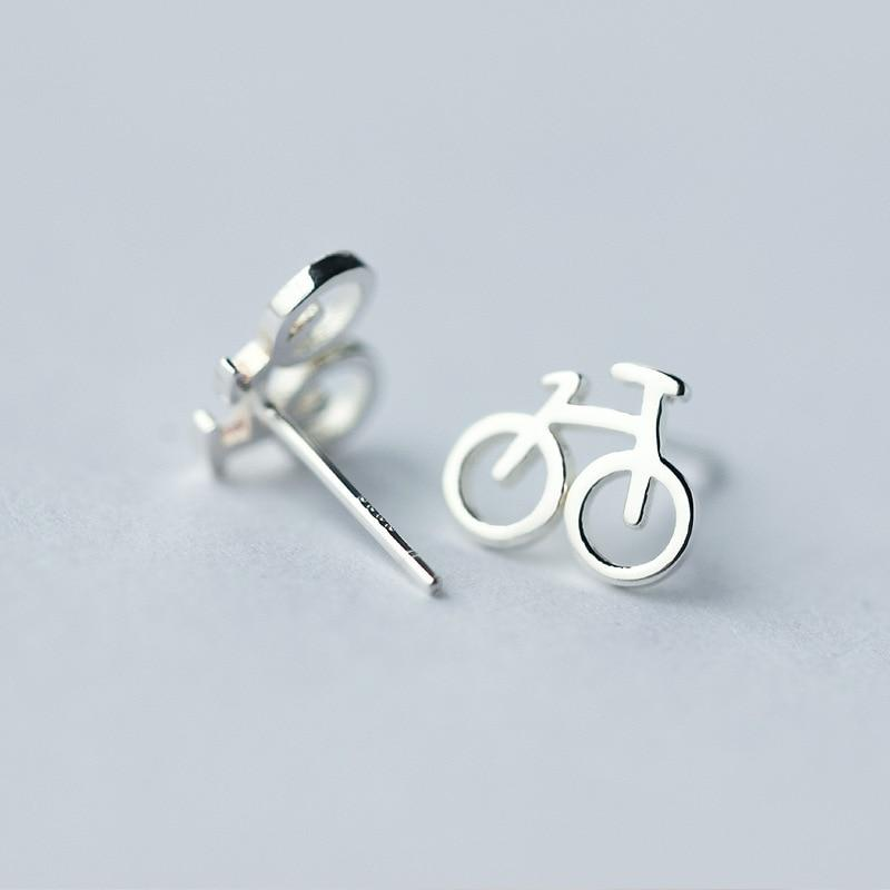 BESTSELLER - Sterling Silver Bicycle Stud Earrings - 925 Stud Earring - 925 Real Silver Earrings - Charming Silver Earrings Lux & Rose