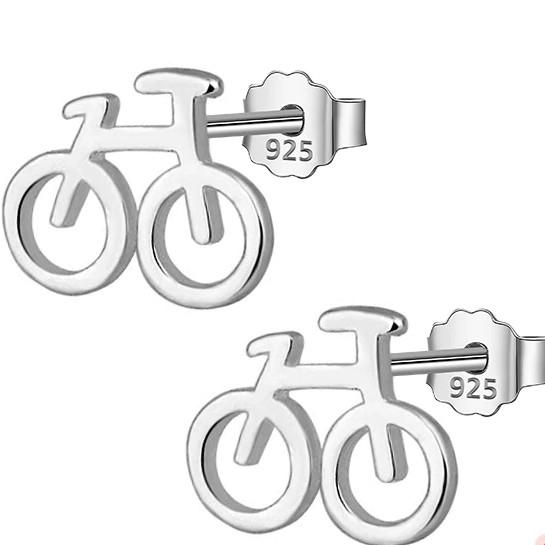 BESTSELLER - Sterling Silver Bicycle Stud Earrings - 925 Stud Earring - 925 Real Silver Earrings - Charming Silver Earrings Lux & Rose Default Title
