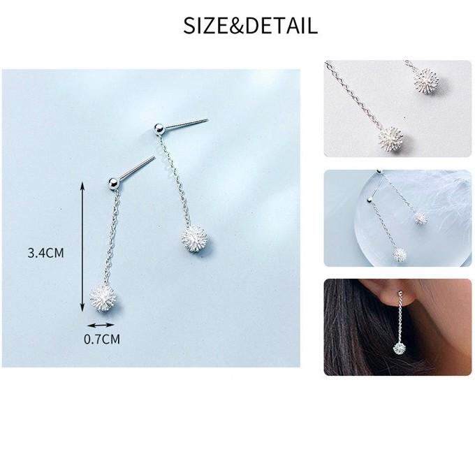 BESTSELLER - Sterling Silver Dandelion Flower Drop Earrings - 925 Real Silver Earrings - Playful Silver Earrings Lux & Rose
