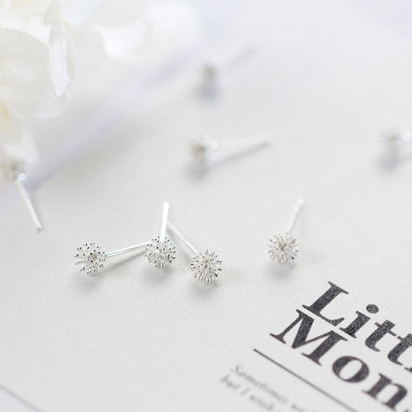 BESTSELLER - Sterling Silver Dandelion Stud Earrings - 925 Real Silver Earrings - Playful Flower Stud Earrings Lux & Rose