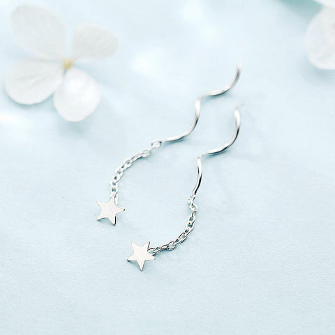 BESTSELLER - Sterling Silver Dangle Star Earrings - 925 Real Silver Earrings - Playful Silver Earrings Lux & Rose