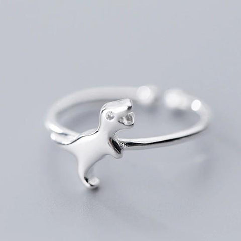 BESTSELLER - Sterling Silver Dinosaur Ring - 925 Real Silver Ring - Classic Silver Ring - Adjustable Cocktail Ring Lux & Rose