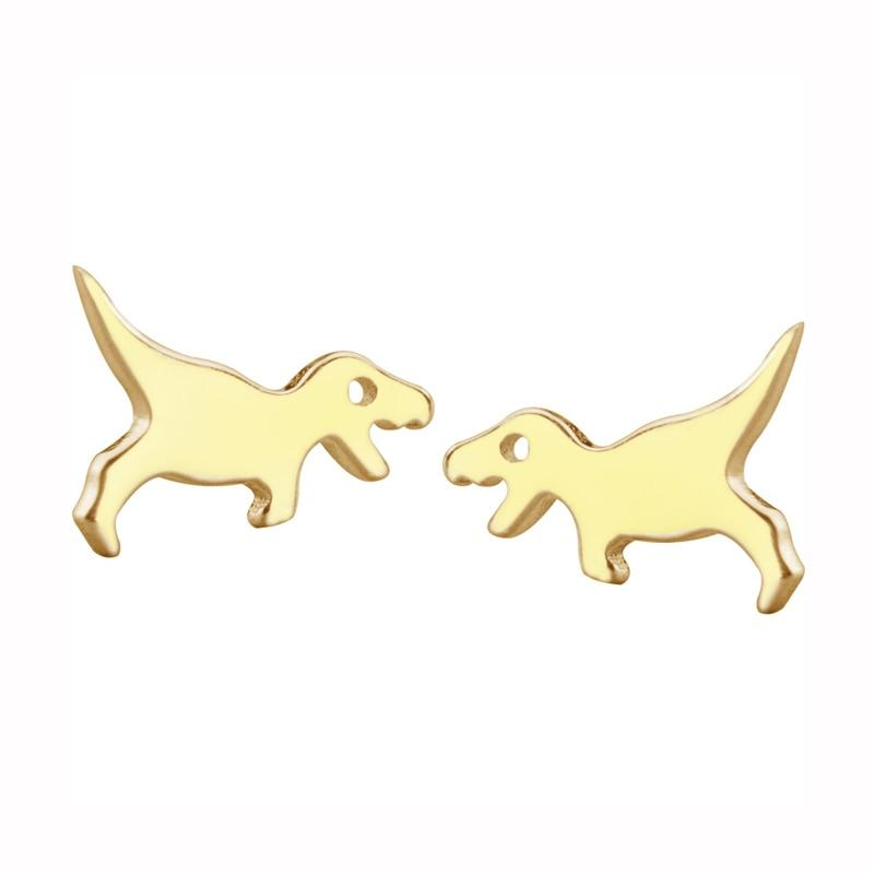 BESTSELLER - Sterling Silver Dinosaur Stud Earrings - 925 Stud Earrings - 925 Real Silver Earrings - Playful Silver Earrings Lux & Rose Gold