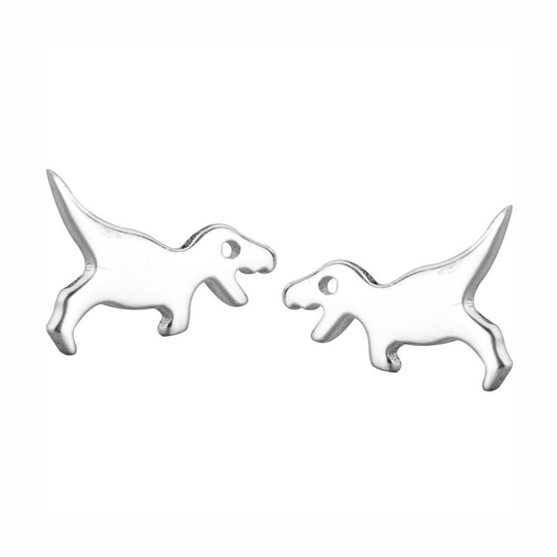 BESTSELLER - Sterling Silver Dinosaur Stud Earrings - 925 Stud Earrings - 925 Real Silver Earrings - Playful Silver Earrings Lux & Rose Silver