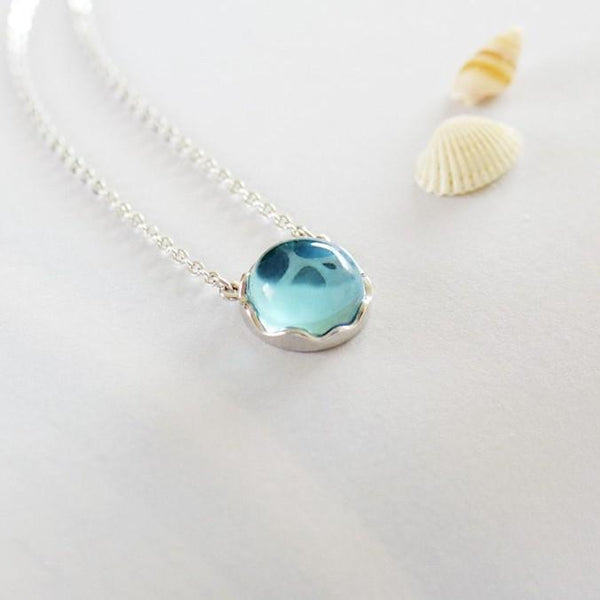 BESTSELLER - Sterling Silver Ocean Pendant Necklace - 925 Real Silver Necklace - Classic Silver Necklace Lux & Rose