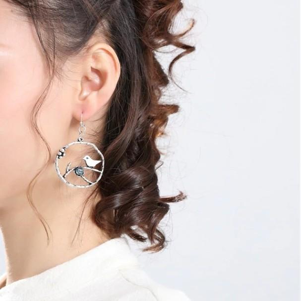 Bird Flower Dangle Hoop Earrings - Dangle Earrings - Bird Dangle Earrings - Bird Dangle Hoop Earrings - Bird Flower Branch Dangle Earrings - Bird Dangling Earrings Lux & Rose