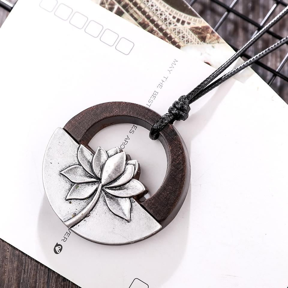 Black Sandalwood Flower Pendant Necklace - Round Sandalwood Flower Necklace - Wood Pendant Necklace - Lotus Flower Necklace - Circle Flower Wooden Necklace - Pendant Necklace - Long Rope Necklace Lux & Rose