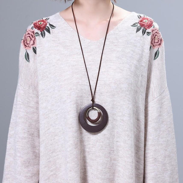 Bohemian Long Rope Circle Necklace - Vintage Wooden Circle Necklace - Open Circle Minimalist Necklace - Boho Necklace - Geometric Necklace - Drop Pendant Necklace - Knotted Necklace Lux & Rose
