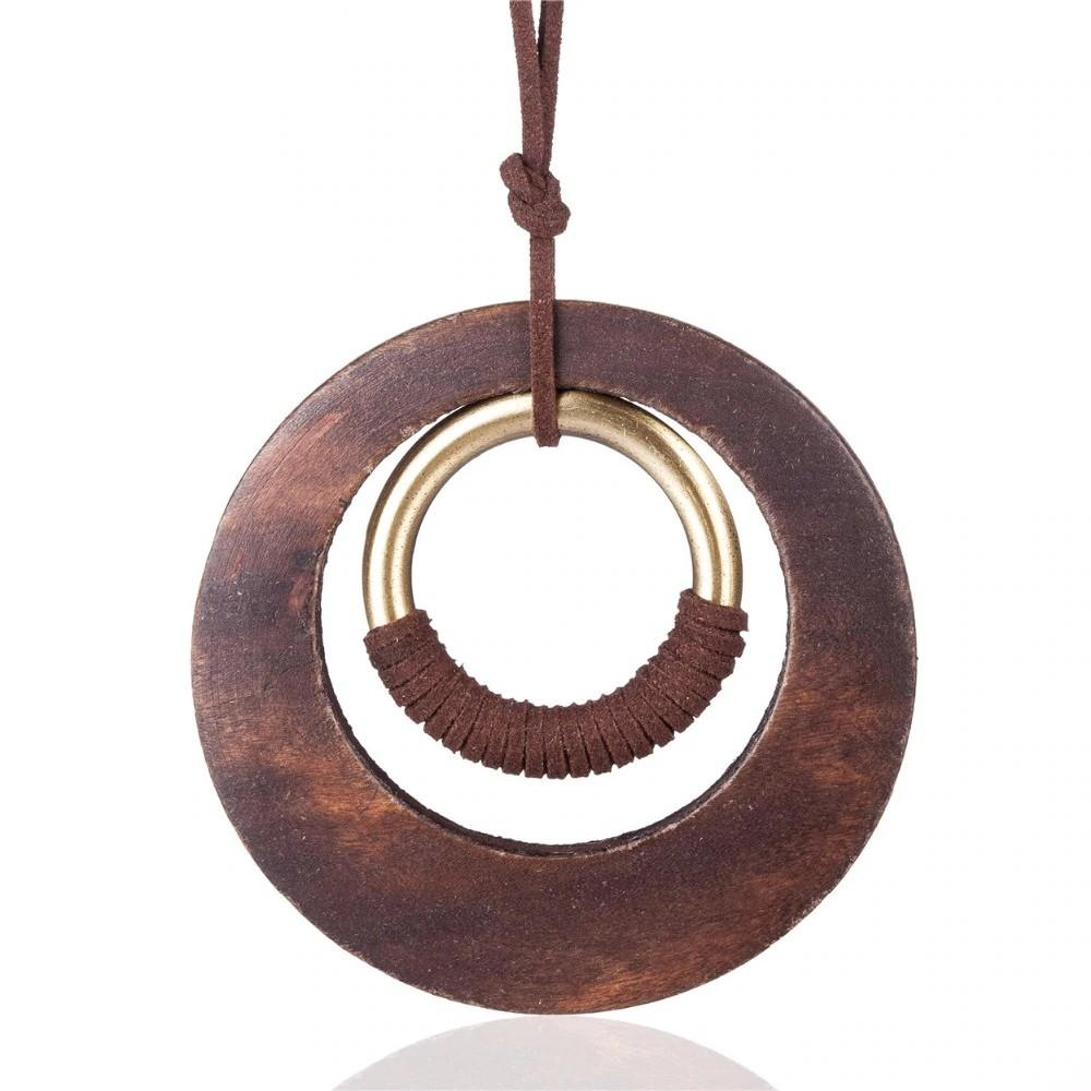 Bohemian Long Rope Circle Necklace - Vintage Wooden Circle Necklace - Open Circle Minimalist Necklace - Boho Necklace - Geometric Necklace - Drop Pendant Necklace - Knotted Necklace Lux & Rose Default Title