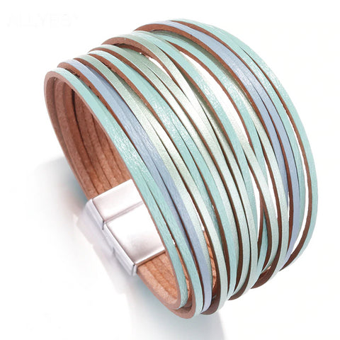Mix Color Slim Strips Bracelet – Multicolor Leather Bracelet – Bohemian Bracelet – Multilayer Wrap Bracelet – Magnetic Clasp Bracelet