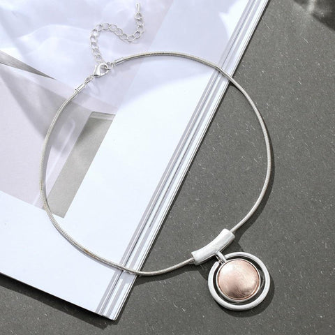Circle Washer Pendant Necklace - Circle Pendant Necklace - Wax Cable Chain Necklace - Long Rope Necklace - Geometric Necklace - Drop Pendant Necklace Lux & Rose