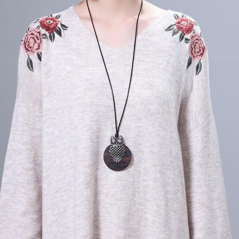 Collar Sandalwood Owl Pendant Necklace - Sweater Rope Chain Necklace - Owl Vintage Women Pendant Necklace Lux & Rose