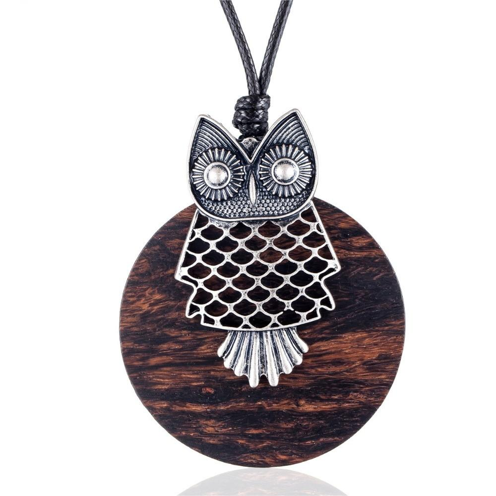 Collar Sandalwood Owl Pendant Necklace - Sweater Rope Chain Necklace - Owl Vintage Women Pendant Necklace Lux & Rose Default Title