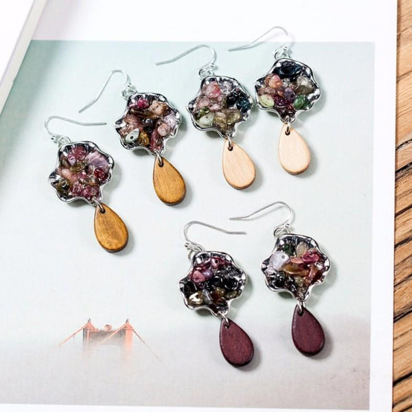 Color Stones Long Dangle Earrings - Dangle Earrings - Stone Dangle Earrings - Long Dangle Earrings - Wooded Water Drop Dangling Earrings - Water Drop Dangle Earrings - Wooded Teardrop Dangle Earrings Lux & Rose