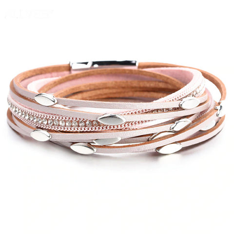 Leather Beads Bracelet – Leather warp Bracelet – Boho Bracelet – Multilayer Wide Wrap Bracelet – Magnetic Clasp Bracelet