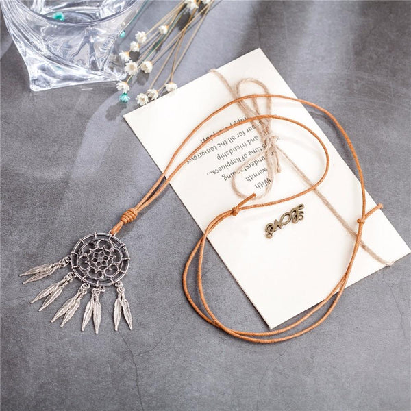 Dream Catcher Pendant Necklace - Silver Dream Catcher Necklace - Long Rope Chain Necklace - Dream Chaser Pendant Necklace - Dream Catcher - Geometric Necklace Lux & Rose