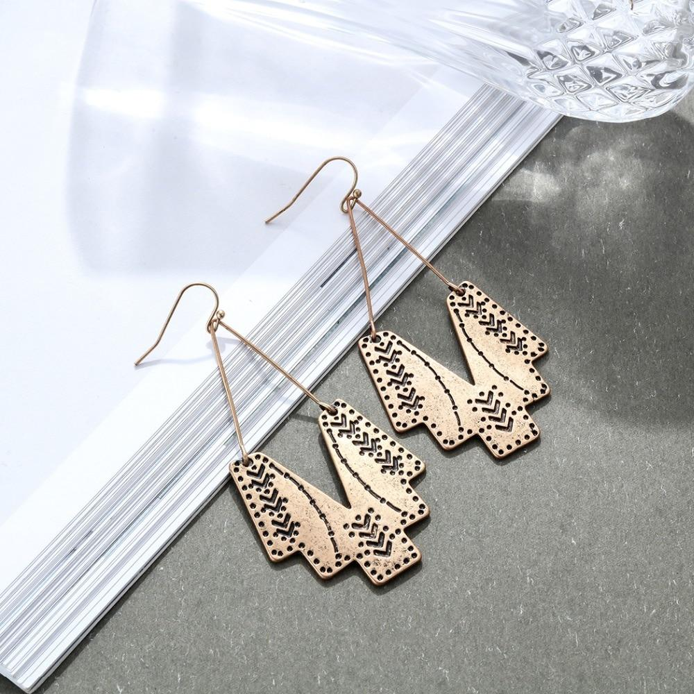 Ethnic Antique Tibetan Dangle Earrings - Dangling Earrings - Vintage Dangle Earrings - Geometric Dangle Earrings - Mystic Curved Earrings - Pendant Dangle Earrings - Dangle Drop Earrings Lux & Rose