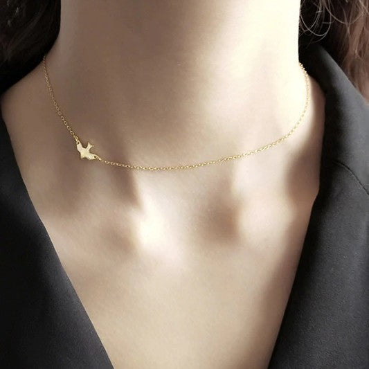 Sterling Silver Bird Choker Pendant Necklace - 925 Real Silver Necklace - Classic Silver Necklace