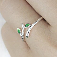 Sterling Silver Leaf Tree Branch Open Ring - 925 Real Silver Ring - Classic Silver Ring - Adjustable Cocktail Ring