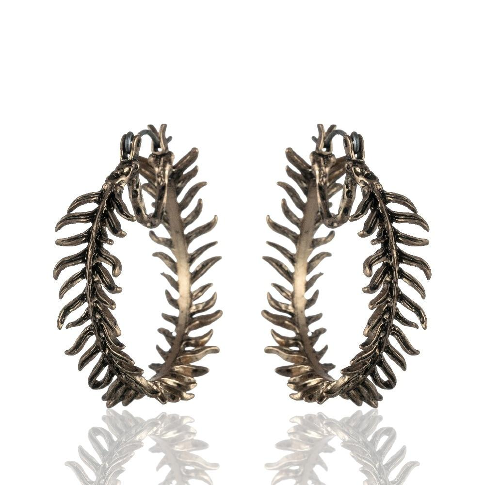 Fern Hoop Dangle Drop Earrings - Vintage Fern Hoop Earrings - Fern Circle Earrings - Fern Round Earrings - Gold Fern Hoop Earrings - Silver Fern Hoop Earrings - Fern Round Shaped Earrings Lux & Rose