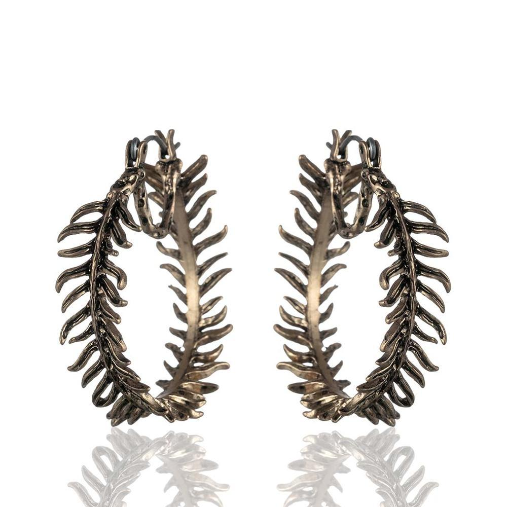 Fern Hoop Dangle Drop Earrings - Vintage Fern Hoop Earrings - Fern Circle Earrings - Fern Round Earrings - Gold Fern Hoop Earrings - Silver Fern Hoop Earrings - Fern Round Shaped Earrings Lux & Rose Gold