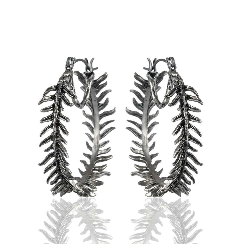 Fern Hoop Dangle Drop Earrings - Vintage Fern Hoop Earrings - Fern Circle Earrings - Fern Round Earrings - Gold Fern Hoop Earrings - Silver Fern Hoop Earrings - Fern Round Shaped Earrings Lux & Rose Silver