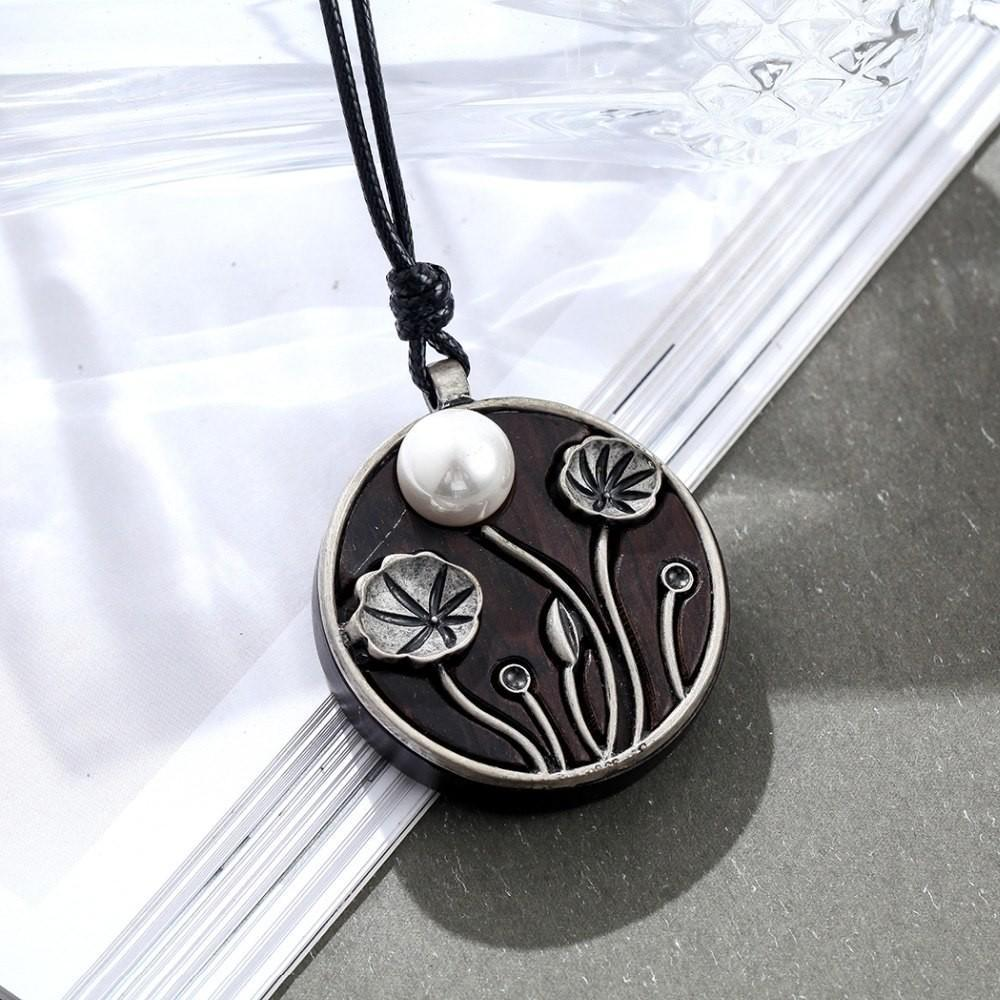 Flower Engraved Wood Circle Necklace - Engraved Sandalwood Pendant Necklace - Vintage Handmade Circle Necklace - Sandalwood Necklace - Rope Chain Pendant Necklace - Black Circle Necklace - Wooden Necklace Lux & Rose