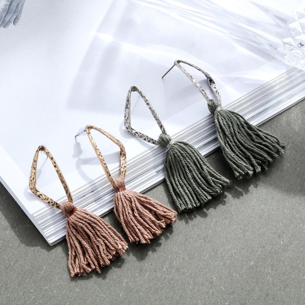 Geometric Triangle Tassel Drop Earrings - Long Drop Tassel Earrings - Vintage Triangle Tassel Earrings - Triangle Short Tassel Earrings - Ethnic Statement Triangle Tassel Drop Earrings Lux & Rose