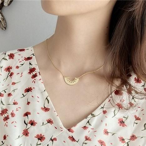 Gold Plated Sterling Silver Semicircle Pendant Necklace - 925 Real Silver Choker Necklace - Bohemian Choker Lux & Rose