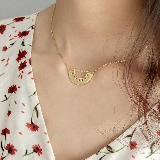 Gold Plated Sterling Silver Semicircle Pendant Necklace - 925 Real Silver Choker Necklace - Bohemian Choker Lux & Rose Default Title