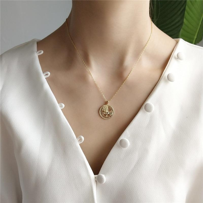 Golden Coin Necklace - 925 Sterling Silver Rose Necklace - Golden Disc Necklace - Layering Necklace Lux & Rose