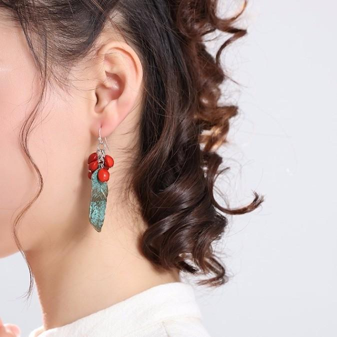 Green Feather Red Beans Dangle Earrings - Dangle Earrings - Feather Dangle Earrings - Red Beans Earrings - Feather Dangling Earrings - Feather Hook Earrings Lux & Rose