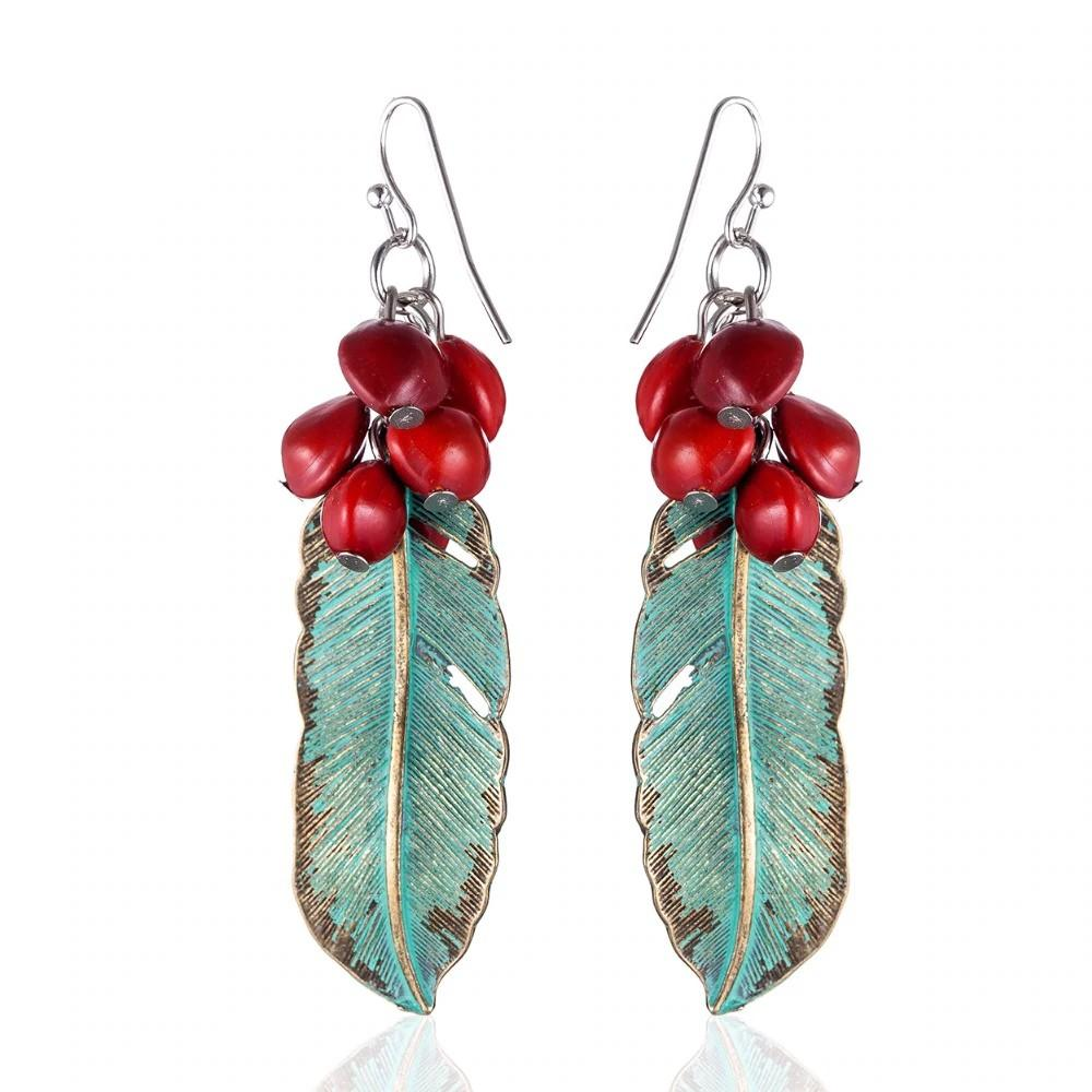 Green Feather Red Beans Dangle Earrings - Dangle Earrings - Feather Dangle Earrings - Red Beans Earrings - Feather Dangling Earrings - Feather Hook Earrings Lux & Rose Default Title